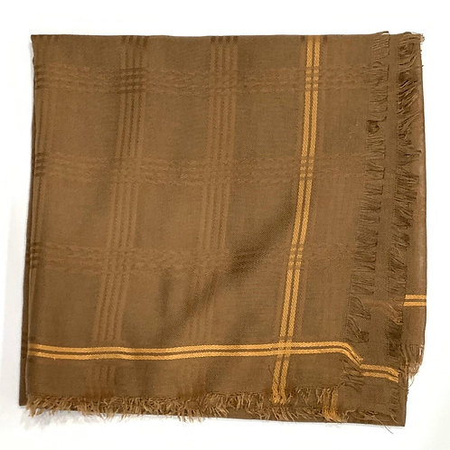 Cotton square scarf with border beige