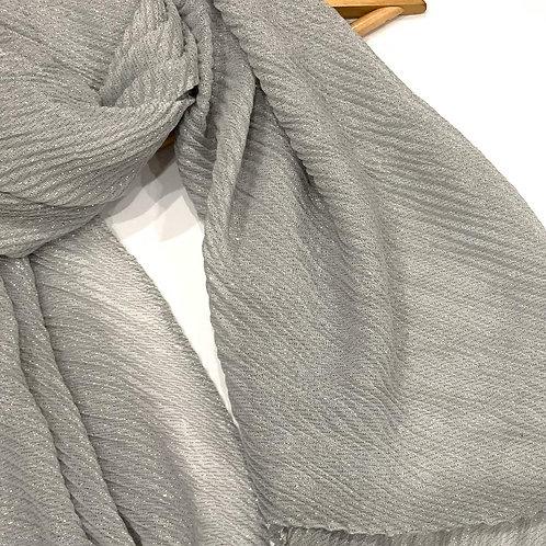 Ripple shimmer hijab light grey