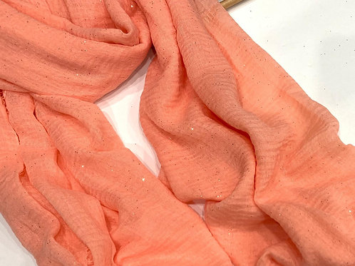Glitter Crinkle Hijab Peach
