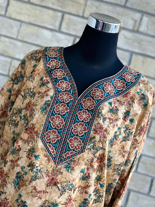 Green Floral Kaftan/Lounge Wear