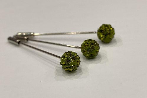 Crystal Pin Army Green