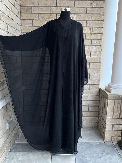 Abaya with Chiffon Layer + Black Pearls