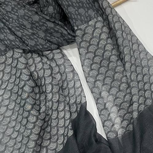 Grey Floral Hijab