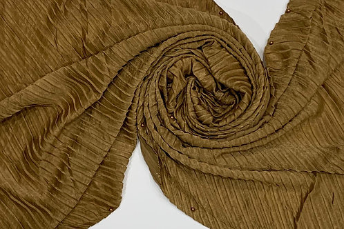 Suede Pleated and Pearl Hijab Brown