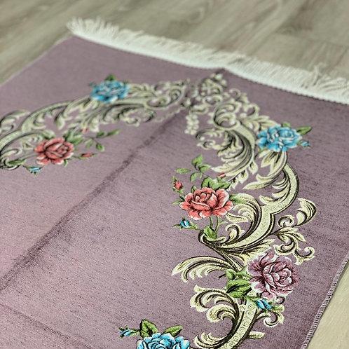 Lilac Mauve Floral Woven Velvet Janamaz
