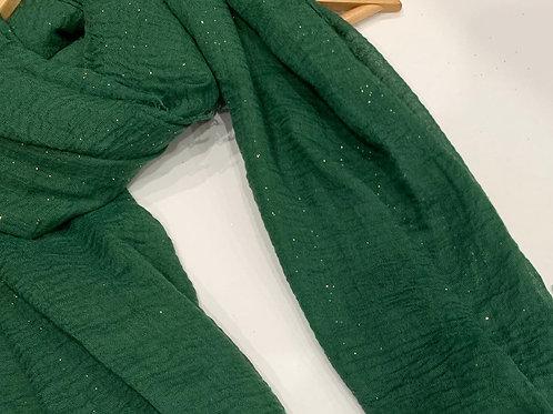 Glitter Crinkle Hijab Hunter Green