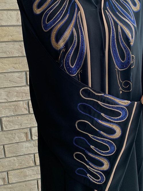 Premium Blue and Gold Embroidery Abaya