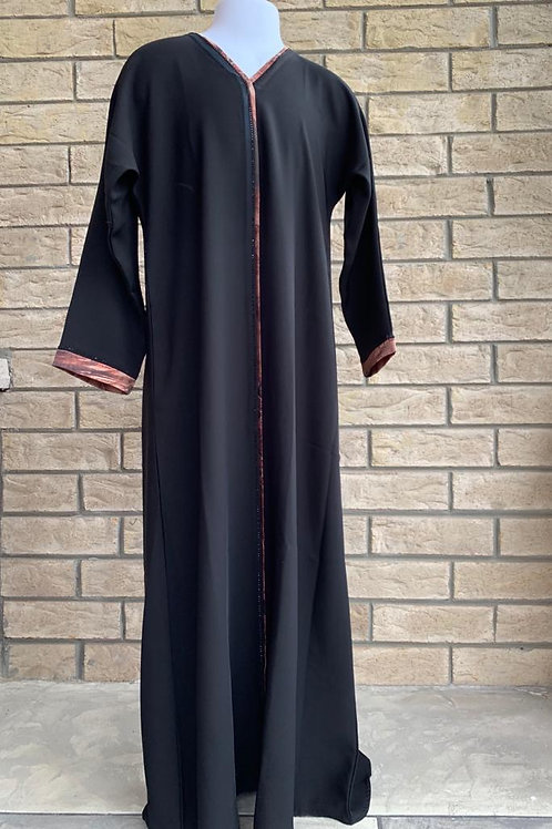 Kids Abaya with Copper Details