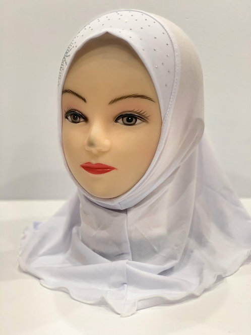Kids Hijab Small With Stonework White