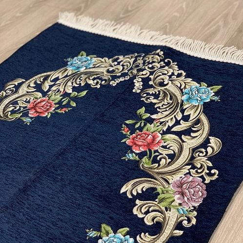 Navy Floral Woven Velvet Janamaz