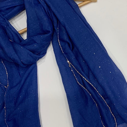 Gold Chain and Glitter Hijab Royal Sapphire