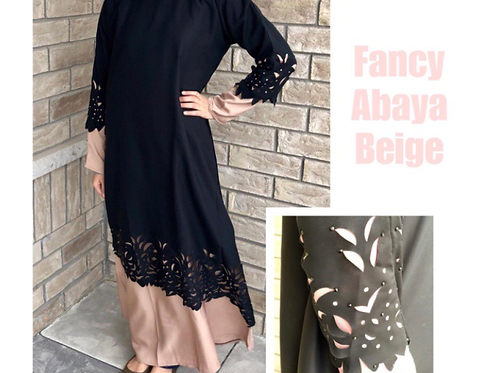 Kids Two Layer Floral Abaya Beige