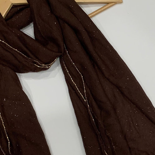 Gold Chain and Glitter Hijab Chocolate