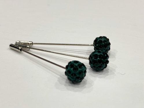 Crystal Pin Dark Green