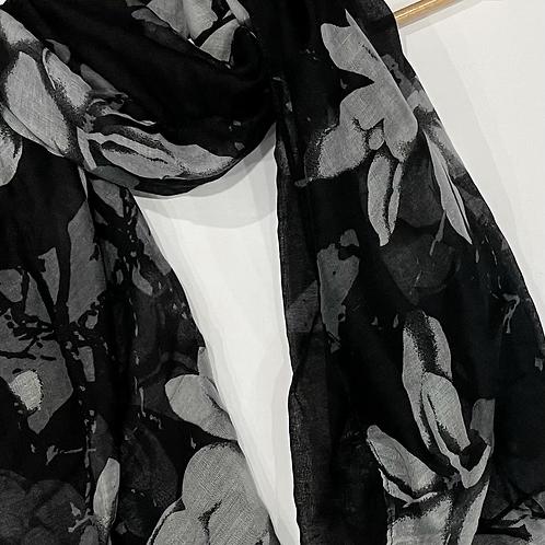 Black Summer Floral Hijab