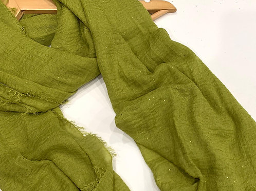 Glitter Crinkle Hijab Lemon Green