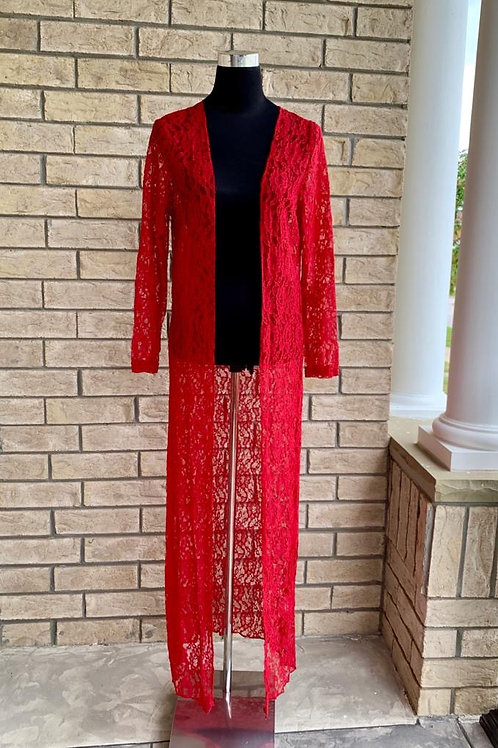 Lace Cardigan Red