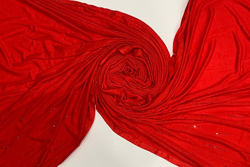 Elegant Jersey Hijab With Stonework Red