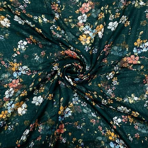 Green Summer Floral Hijab