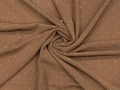 Silver Diamonds Chiffon Hijab Light Gingerbread