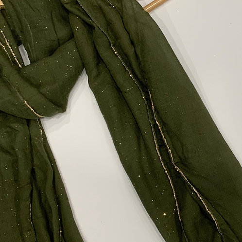 Gold Chain and Glitter Hijab Olive