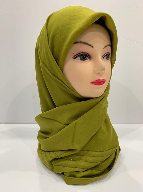 Premium Turkish Square Scarf with Shimmer Border Lime