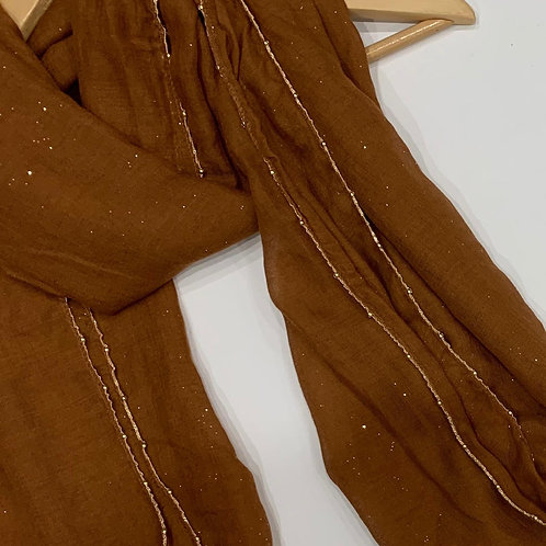 Gold Chain and Glitter Hijab Copper