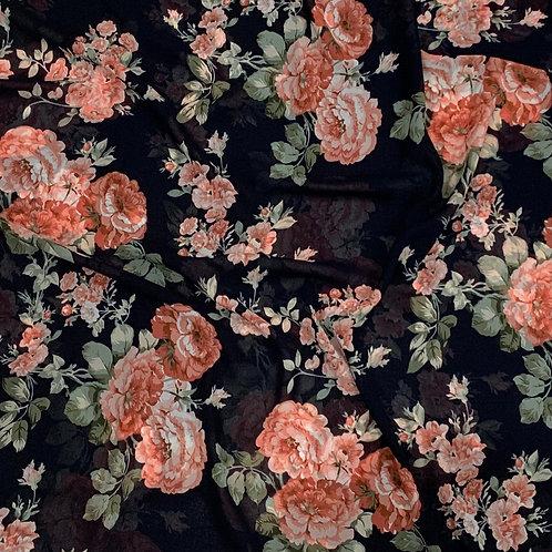 Midnight Bloom Chiffon Hijab