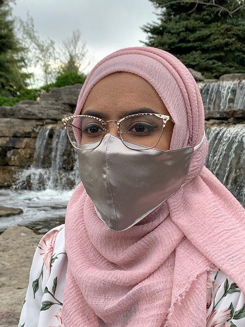 Silver Grey Hijab Friendly 100% Mulberry Silk Mask