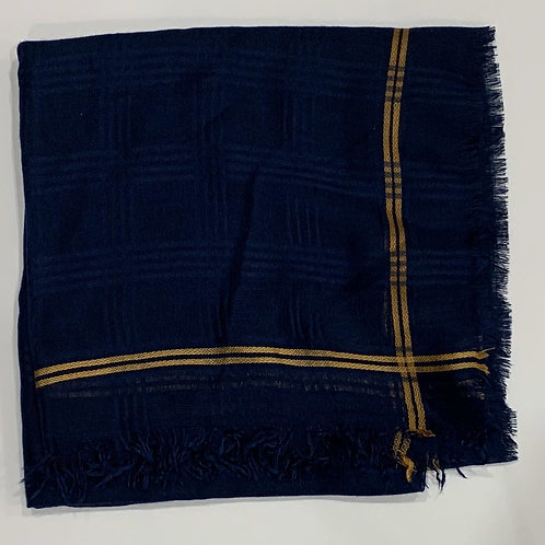 Cotton square scarf with border navy