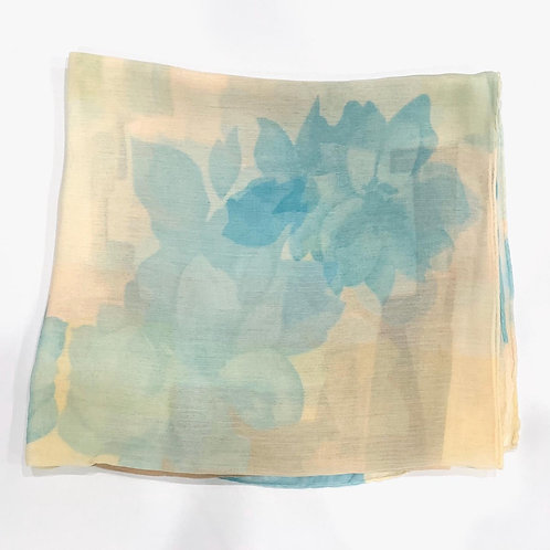 Abstract floral premium Turkish square scarf teal