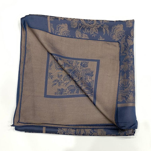Floral Reversible Turkish Square Scarf Fawn & Blue