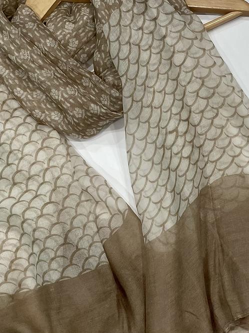 Beige Printed Hijab