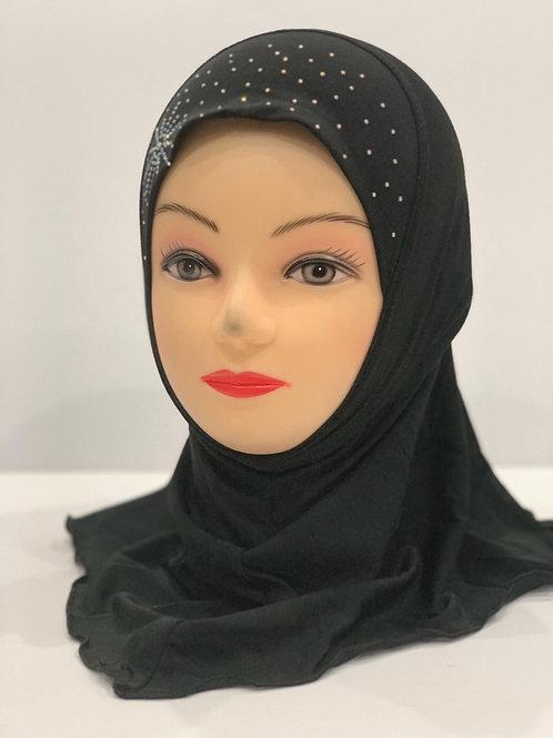 Kids Hijab With Stonework Black