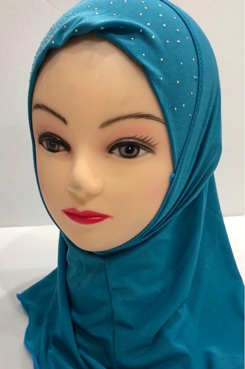 Kids Hijab Small Teal Blue