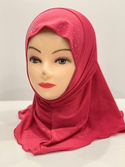 Kids Hijab With Stonework Hot Pink