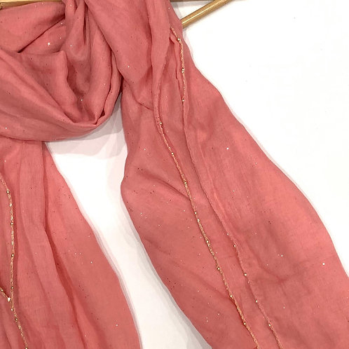Gold Chain and Glitter Hijab Rose Pink