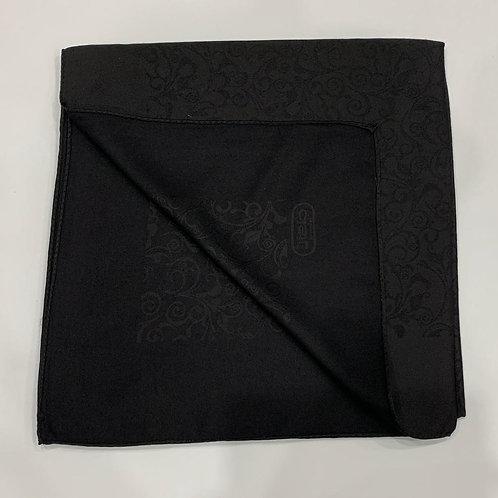 Swirl Reversible Turkish Square Scarf Black on Black