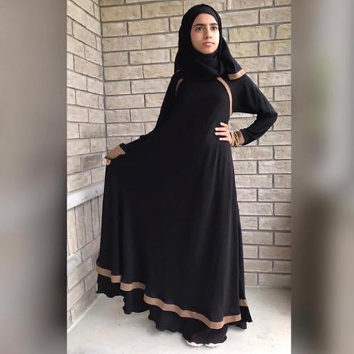 Kids Dress Style Abaya with Brown Piping