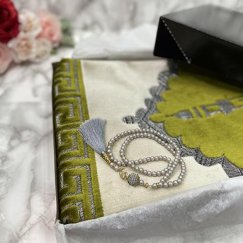 Lemon Green Masjid Velvet Janamaz