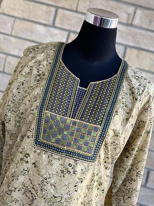 Beige with Green Kaftan/Lounge Wear