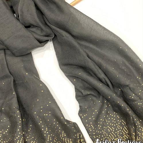Stunning Gold Accent Hijab Granite Grey