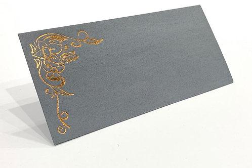 Fancy Envelope Rose Gold Flower + Dark Grey