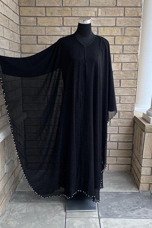 Abaya Chiffon Layer + Black and White Pearls