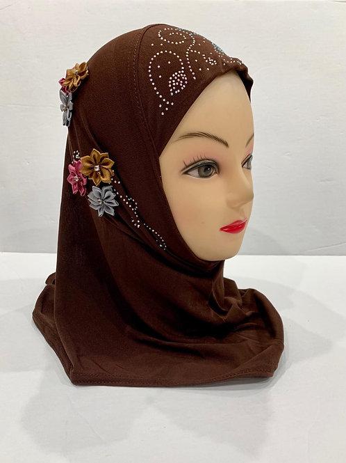 Kids Floral Hijab Small Brown