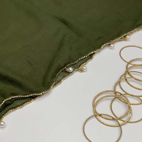 Elegant Hijab with Stonework and Pearls Olive
