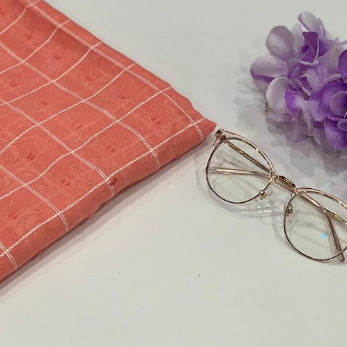 Rose Self Print Embroidery Hijab Coral