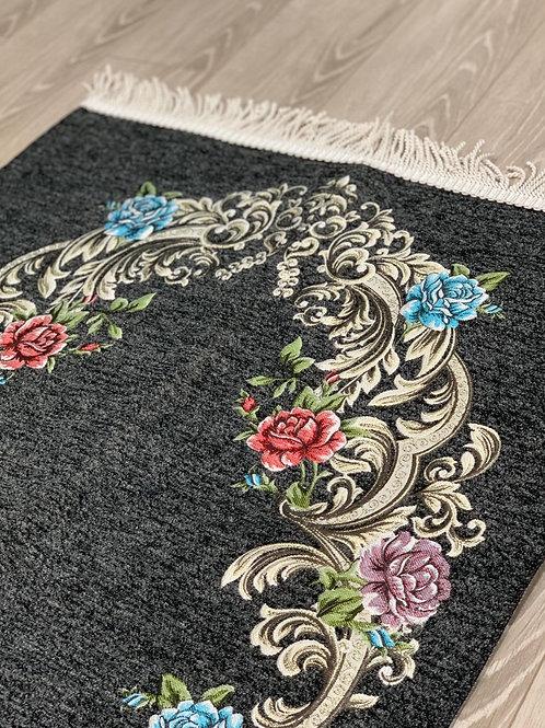 Granite Grey Floral Woven Velvet Janamaz