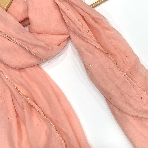 Gold Chain and Glitter Hijab Peach