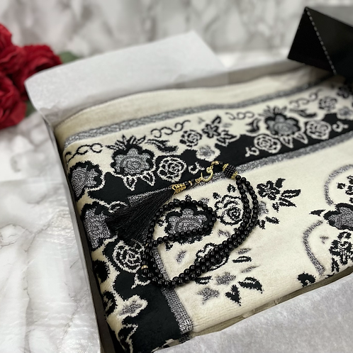 Black Floral Arch Velvet Janamaz